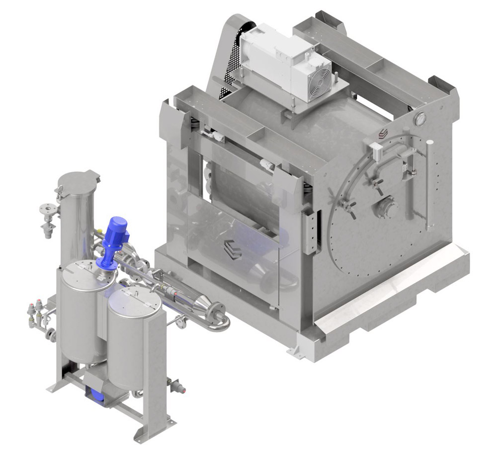 Technical Draw - Drum type machine with centrifugation - Model PMT - For garment dyeing